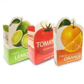 Harga Easy Aura Fresh Orange Soap + Fresh lemon Soap + Tomato Scrub Soap