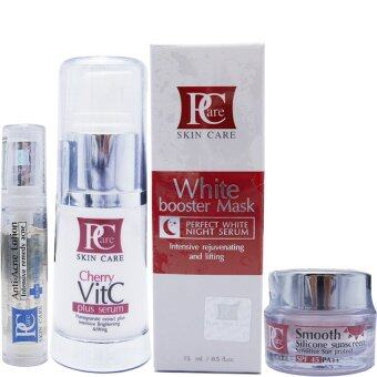 Harga Pcare BRIGHTENING & ANTI-ACNE SET Pcare White Booster Mask x1+ Pcare Anti - Acne Lotion x1 +Pcare Cherry VitC Plus Serum x1 + Sun Screen x1