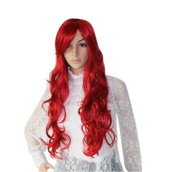 Harga La Vie Faux Tilted Bang Hair style Long Wave Party Cosplay Wigs(Wine Red)