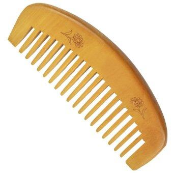 Harga 1pcs Natural wide tooth Peach wood no-static massage hair wood comb- - intl