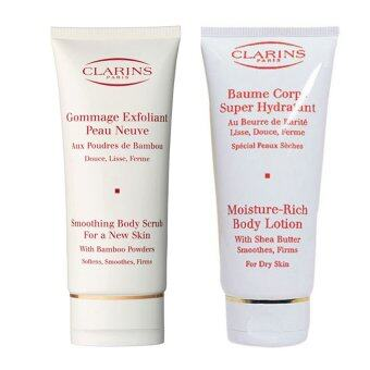 Harga Clarins Moisture Rich Body Lotion with Sheer Butter for Dry Skin 100ml + Clarins Smoothing Body Scrub for a New Skin 100ml