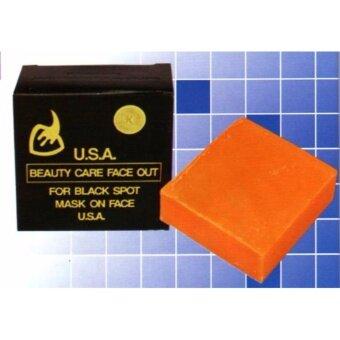 สบู่ K. BROTHERS กล่องดำ ก้อนสีส้ม 50 กรัม Beauty Care Face Out Soap 50 Gram for Black spot mask on face USA.
