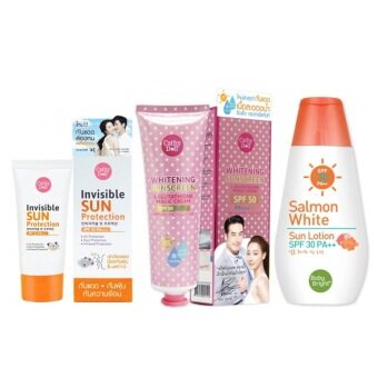 karmart Invisible Sun Protection SPF33 PA+++ 20g ทาหน้าแบบพกพา+L-Glutathione Magic Cream SPF50 PA+++ 60ml +Salmon White SunLotion SPF30 PA+++ 150ml