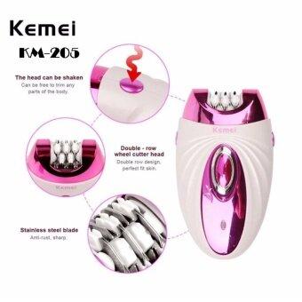 Kemei เครื่องกำจัดขนไฟฟ้า 3 in 1 ทั้งถอนและโกน รุ่น KM-205 (สีชมพู)