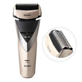 ราคา KM-8102 Electric Rechargeable Life Waterproof 3-blade Reciprocating Trimmer Shaver, EU Plug(Gold) - intl