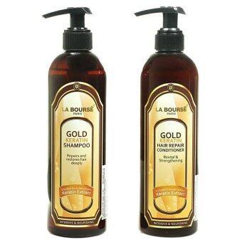 La Bourse Gold Keratin Shampoo + La Bourse Gold KeratinConditionerแชมพู+ครีมนวด สูตรโกลด์ เคราติน