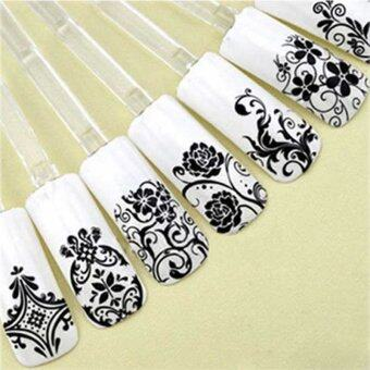 La Vie 108pcs 3D DIY Flower Nail Stickers Manicure Decals StampingFrench Nail Art( Black)