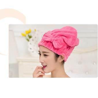 หมวกนาโน Microfiber ใช้คลุมหมักผม+ใช้คลุมอาบน้ำได้ สีชมพูเข้ม