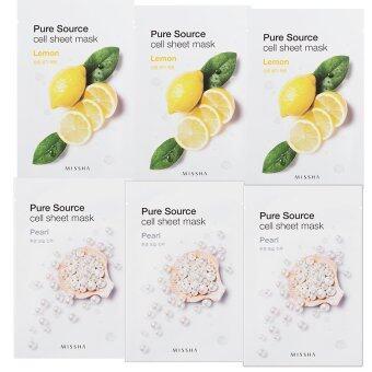 สนใจซื้อ Missha Pure Source Cell Sheet Mask สูตรมะนาวลดจุดด่างดำ ปรับสีผิวให้สม่ำเสมอ 21g.x 3 แผ่น +สูตรไข่มุก มีประสิทธิภาพในการช่วยให้ผิวขาวกระจ่างใสขึ้น 21g.x 3 แผ่น