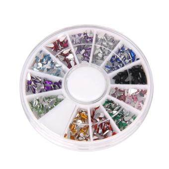 เปรียบเทียบราคา Mixed Color 3D Acrylic Nail Art Glitters Tips DIY Nail DecorationWheel (Multicolor) - intl