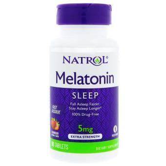 Natrol Melatonin เมลาโทนิน 5 mg x 90 เม็ด แบบละลายในปาก รสสตรอว์เบอร์รี Fast Dissolve Strawberry Flavor