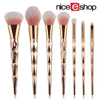niceEshop Unicorn Thread Professsional 7pcs Makeup Cosmetic Brushes Set With Rose Gold Delicate Diamond Shape Handle (Rose Gold)