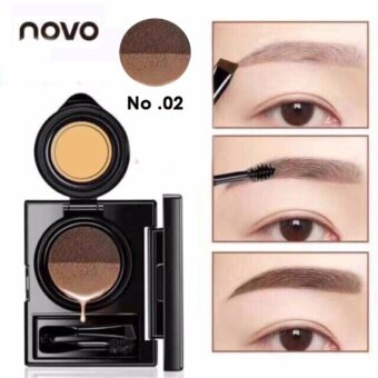 Novo Cushion Eyebrow โนโว เขียนคิ้วคุชั่น คิ้วสวยเป๊ะ ติดทนนานมาพร้อมแปรงและภู่กันในกล่อง รุ่น 5167 สี 02- น้ำตาลอ่อน (1 ชุด)
