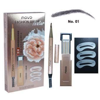 อยากขาย Novo Eyebrow ดินสอเขียนคิ้ว โนโว แบบหมุน มีแปรงปัดคิ้วในตัว แพคสุดคุ้ม!!! พร้อมไส้ดินสอเปลี่ยน 3 แท่ง + บล๊อกคิ้ว 3 ชิ้น สี 01 น้ำตาลเข้ม