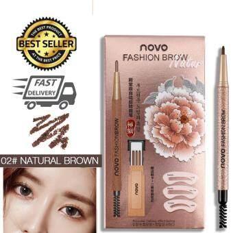Novo Eyebrow (Zaab Fashion) โนโว ดินสอขียนคิ้ว ติดทน กันน้ำ กันเหงื่อ มาพร้อมแผ่นเขียนคิ้ว 3 แผ่น คิ้ว 3 แบบ, ดินสอเขียนคิ้ว1แท่ง ไส้ดินสอเขียนคิ้ว 3 แท่ง NOVO Fashion Brow