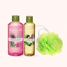 Relaxing Lotus Sage shower gel 400ml and Lavender & Blackberry Shower Oil 200ml + Free Sponge