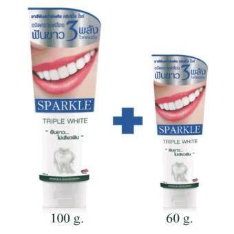 Sparkle Triple White Toothpaste ยาสีฟันสปาร์คเคิล 100 กรัม +Sparkle Triple White Toothpaste 60 กรัม