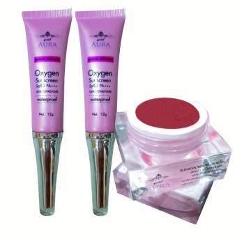 กันแดดออกซิเจน SPF50 ผสมรองพื้นบางเบา quickAura Oxygen sunscreen (2หลอด)quickAura lip ลิปกลอส (1ตลับ)