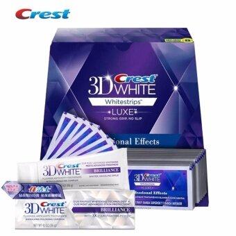 Crest 3D White Luxe Professional Effect 1 กล่อง + ยาสีฟัน ผลิตภัณฑ์ แผ่นฟอกฟันขาว ที่ขายดีที่สุดใน USA