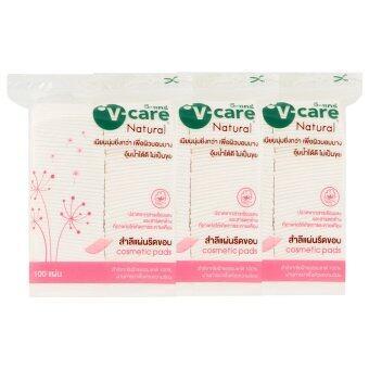 V-CARE  วีแคร์ สำลีแผ่นรีดขอบ 100แผ่น   (แพ็ค 3)