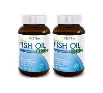 อาหารเสริม Vistra Salmon Fish Oil 1000MG วิสทร้า น้ำมันปลาแซลมอน1000 มก. (45 เม็ด) 2 ขวด