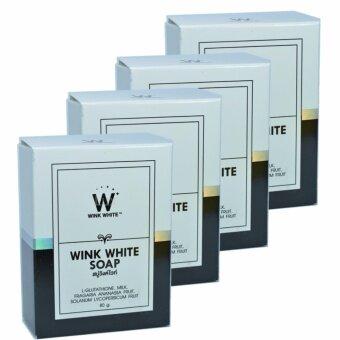 จัดโปรโมชั่น Wink White Soap สบู่วิงค์ไวท์ ผสมกลูต้า น้ำนมแพะ ช่วยทำความสะอาดผิวบำรุงผิว ให้ขาวเนียนใส ขนาด 80g. (4 ก้อน)