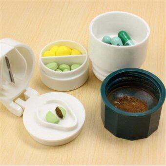 WOW ที่บดเม็ดยา ที่ตัดเม็ดยา พร้อมช่องเก็บยา 2 ช่อง และถ้วยใส่น้ำเล็กๆ แบบพกพา (สีฟ้า)