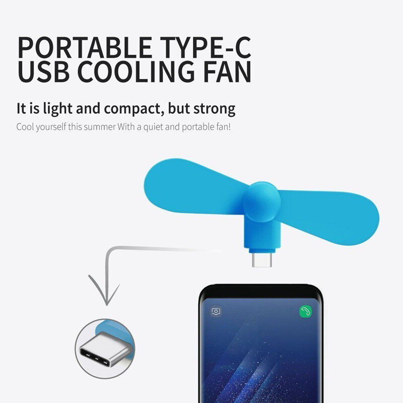 【Average】 Type-C พัดลม USB แบบพกพา โทรศัพท์มือถือมินิพัดลมสำหรับ Android Type C