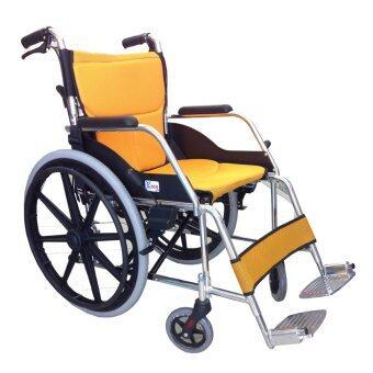 Easy4u รถเข็นผู้ป่วย อัลลอยด์เปลี่ยนเบาะได้ 22 นิ้ว (สีเหลือง)