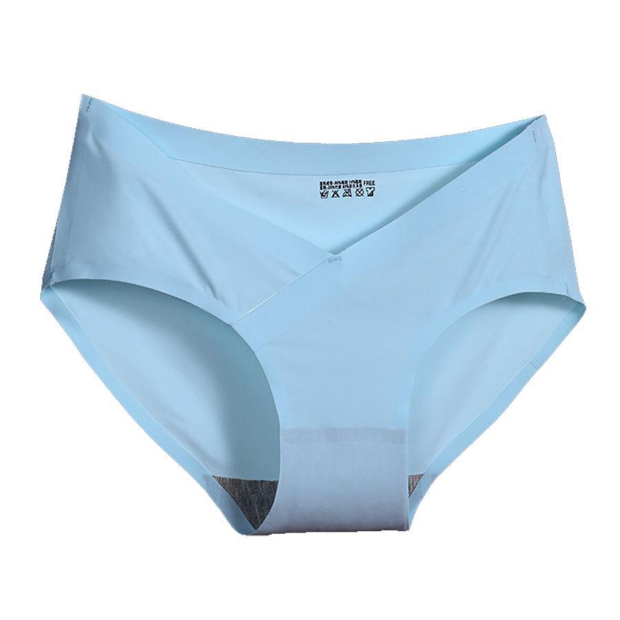 กางเกงในคนท้อง Ice Silk กางเกงในคนท้องไร้ขอบ แบบเอวต่ำ ไร้ตะเข็บ