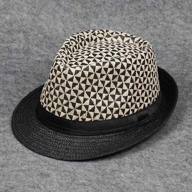 Pria topi jerami musim panas buatan tangan anyaman topi kotak-kotak bunga topi kertas jazz