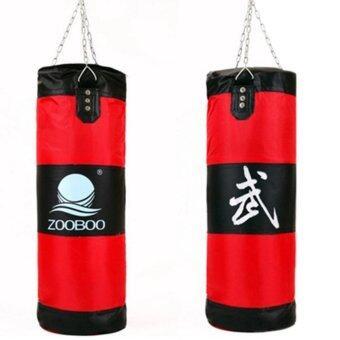 ประเทศไทย 100cm Empty Punching Bag with Chain Martial Art Hollow Taekwondo Boxing Training Fitness Sandbag กระสอบต่อยมวย สีแดง 1 pcs