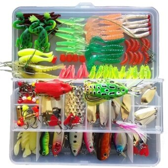 132 Pcs/1 Set Multifunction Fishing Lure Kits Mixed Universal Assorted Fishing Lure Accessories Set with Fishing - Including Fish Hooks, Hard Soft Bait And Other Saltwater Freshwater Lures for Fishing With Tackle Box - intl