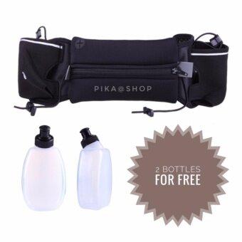 กระเป๋าคาดเอวใส่มือถือกันน้ำสีดำ แบบมีช่องใส่ขวดน้ำ 2 ขวด แถมขวดน้ำฟรี สำหรับกีฬา/กิจกรรมทุกชนิด