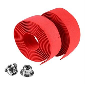 2PCS Cycling Handlebar Anti-slip Grip Wrap Tape + 2 Bar Plugs(Red)- intl