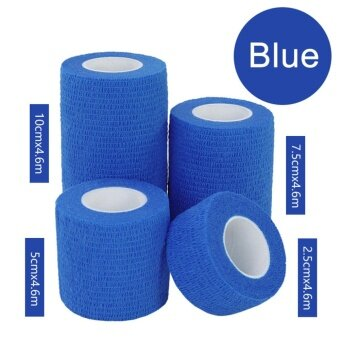 3Rolls Waterproof Bandage Gauze Wraps Elastic Adhesive First Aid Tape Stretch Blue S - intl