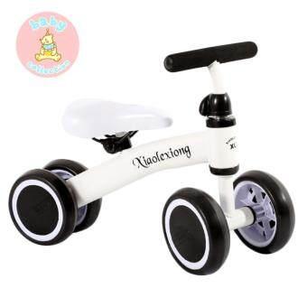 จักรยานไถสามล้อ รถขาไถ 4 ล้อ จักรยานฝึกทรงตัว จักรยานหัดเดิน สำหรับเด็กเล็ก - ขาว
