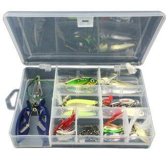 42Pcs / Set Fishing Lure Kits Mixed Universal Assorted Fishing LureSet with Fishing Tackle Box - Including Spinners, VIB, TrebleHooks, Single Hooks, Swivels, Pliers, Leaders, etc for FreshwaterSaltwater Fishing - intl