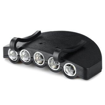 หมวกติดโคมไฟสำหรับตกปลากลางแจ้ง 5 ไฟ LED สีขาว 2 โหมด
