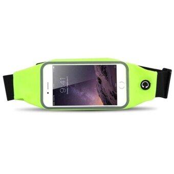 ราคา กระเป๋ากีฬาแบบคาดเอวใส่โทรศัพท์มือถือกันน้ำได้ หน้าจอ 5.5 นิ้ว(สีเขียว)