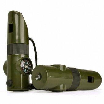 ราคา นกหวีดฉุกเฉิน 7 in 1 (7 in 1 Survival Whistle Compass Thermometer Flashlight Magnifier)