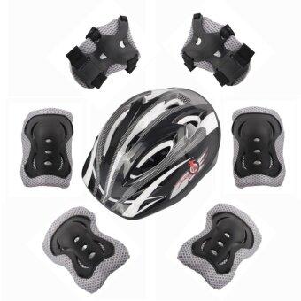 7 sets of children's skating knee knees helmet beginner bikeprotection helmet (black) - intl