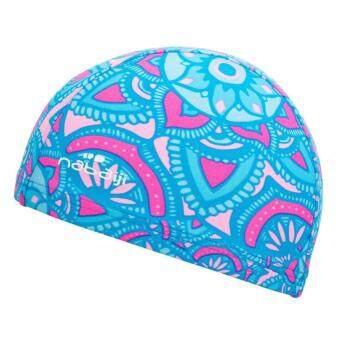2561 หมวกว่ายน้ำผ้าตาข่าย (สีฟ้าพิมพ์ลาย ALLDAL)