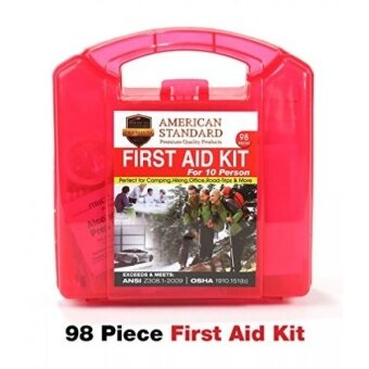 American Standard 10 Person First Aid Emergency Kit in Durable Plastic Case FDA Approved Medical Safety Supplies for Car Boat RV Outdoor Camping Hiking Backpacking Survival  Sports Teams 98pc - intl