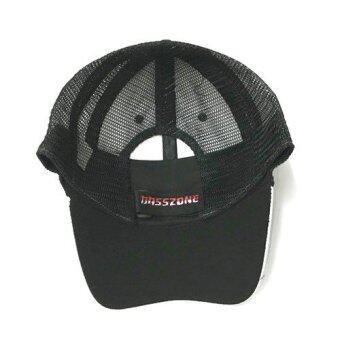 BASSZONE หมวกแก็ปใส่ตกปลา ดำ/ขาว - 2