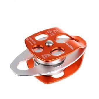 BolehDeals 32KN Double Pulley Aluminum Ball Bearings For Mountaineering Climbing Orange - intl