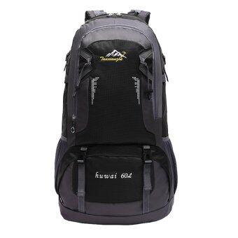 BolehDeals\n60ลิตรเดินป่าท่องเที่ยวกันน้ำกลางแจ้งกีฬากระเป๋าเป้กระเป๋าเป้สีดำ