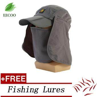 (Buy 1 Get 1 Free Gift) Adjustable Outdoor Fishing Hiking Hat UV Sun Protective Neck Flap Foldable Cover Cap- Grey - intl