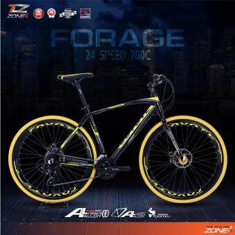 COYOTE จักรยานไฮบริด 700C / ตัวถัง อลูมิเนียม ไซส์ 49 / เกียร์ SHIMANO 24 สปีด / รุ่น FORAGE (สีดำ/เหลือง)