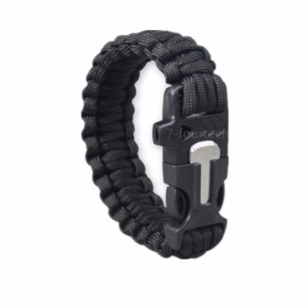 ราคา Crvid สายรัดข้อมือ เอาตัวรอด เชือกรัดข้อมือ สำหรับเดินป่า PARACORD พร้อมแท่งจุดไฟ+นกหวีด (black)